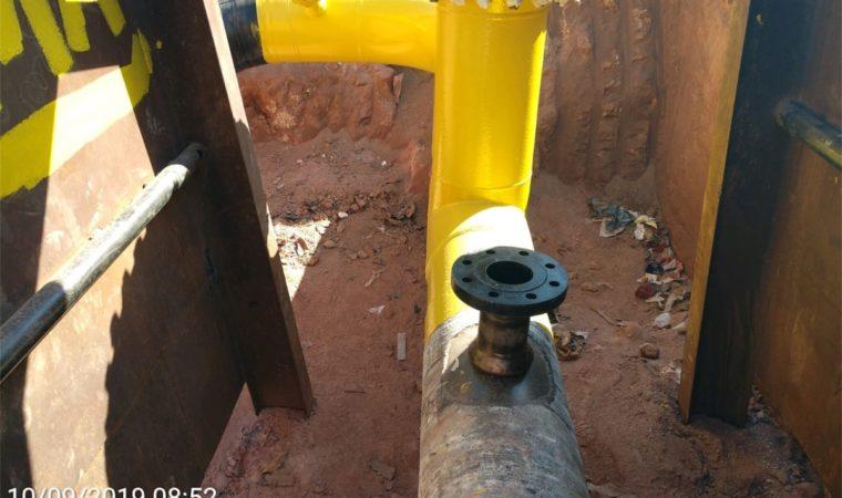 Obras especiais – Remanejamento de rede de gás em carga em aço e polietileno